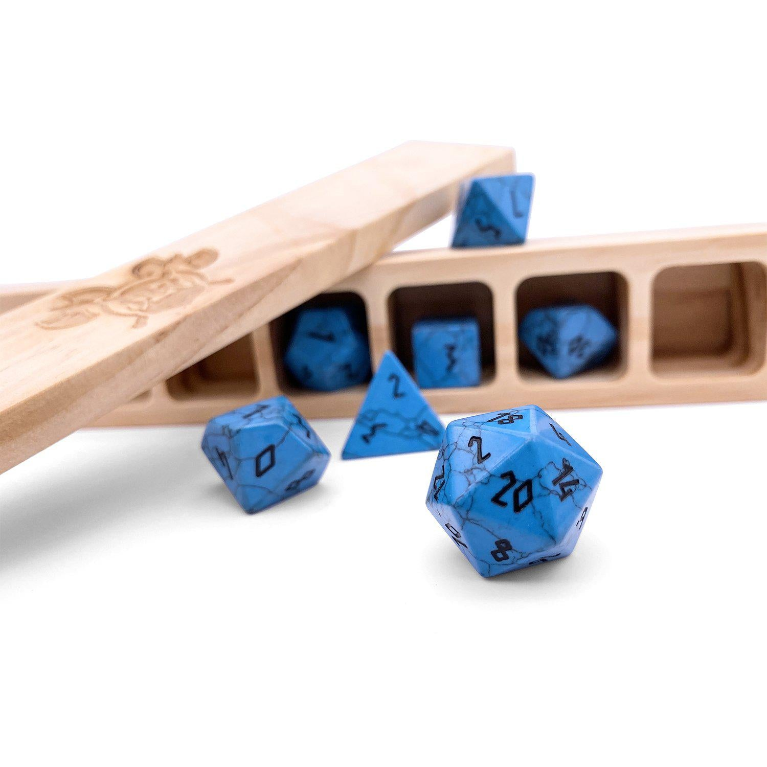 Blue Turquoise Gemstone RPG Dice