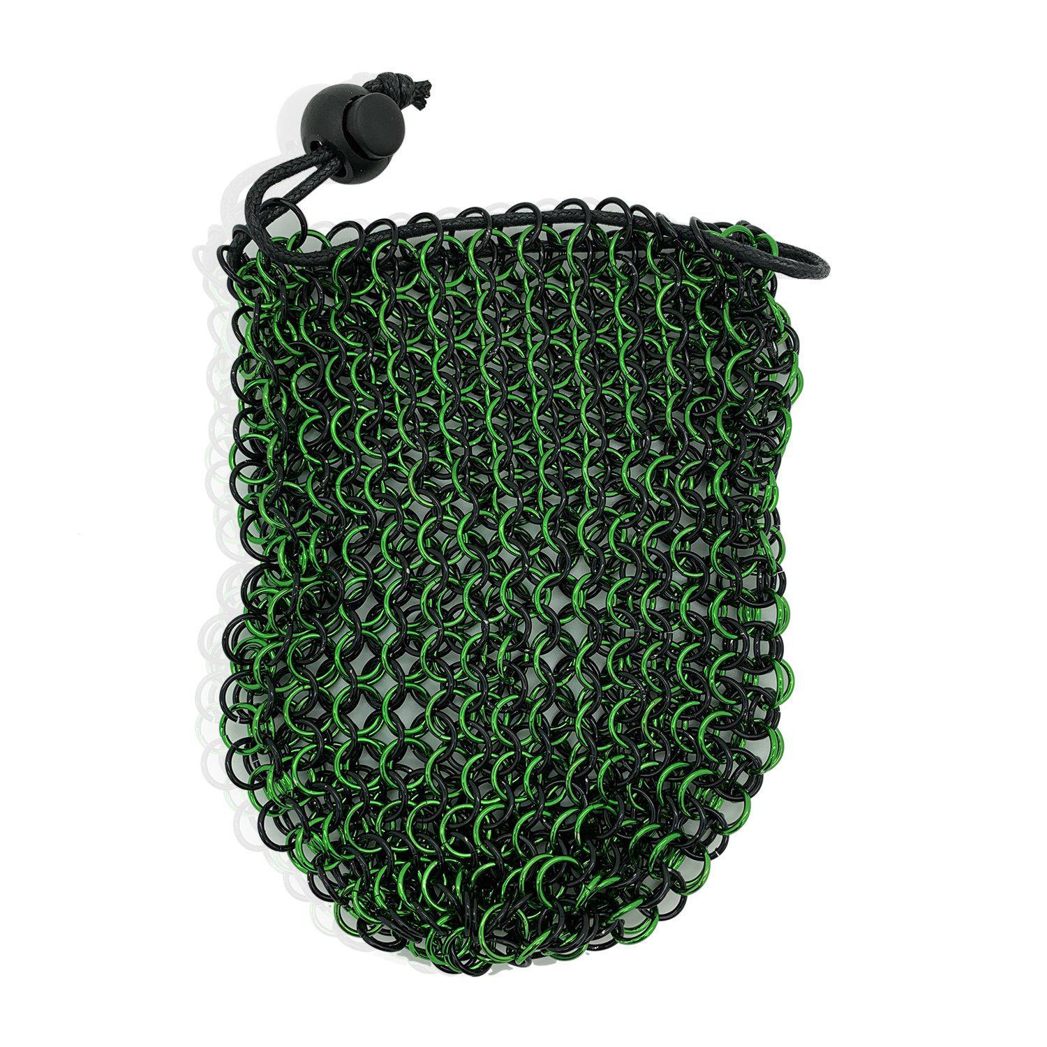 Stainless Steel Chainmail Dice Bag - Green & Black by Norse Foundry