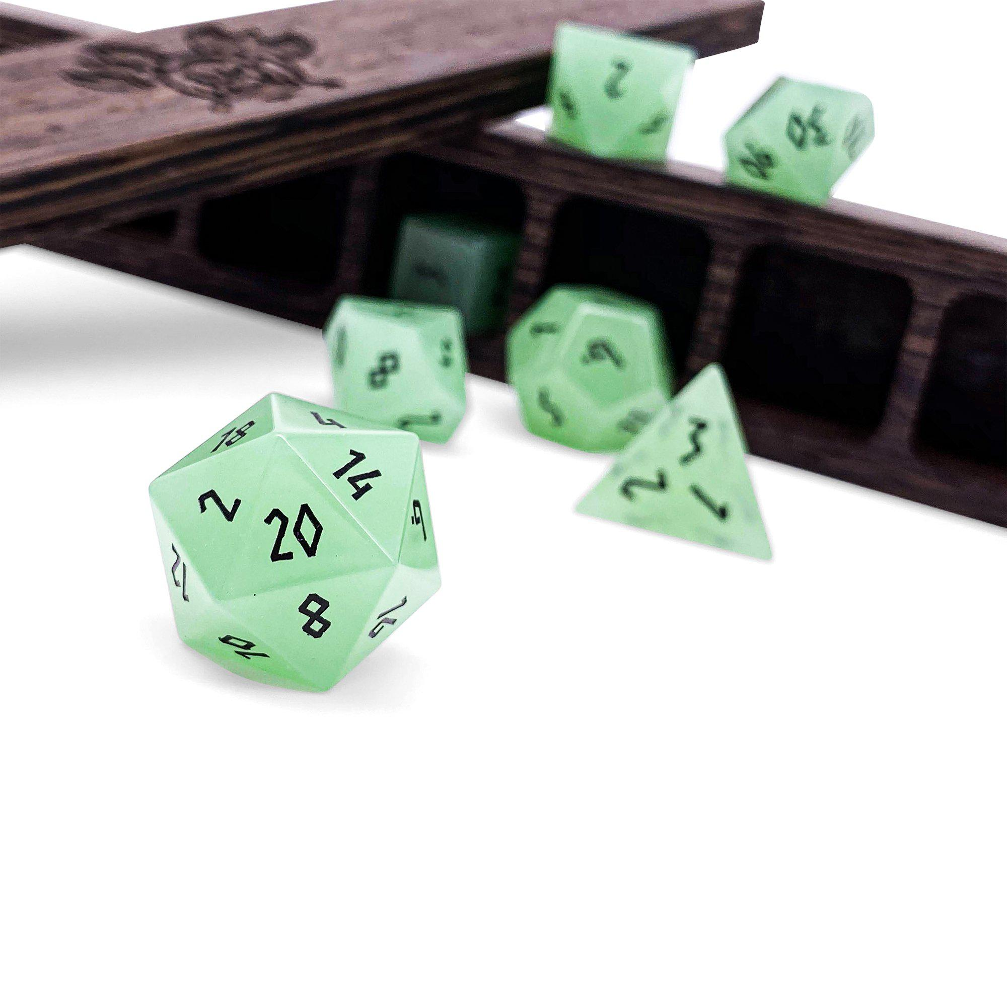 Mint Green - K9 Glass - 7 Piece Glass Dice Set