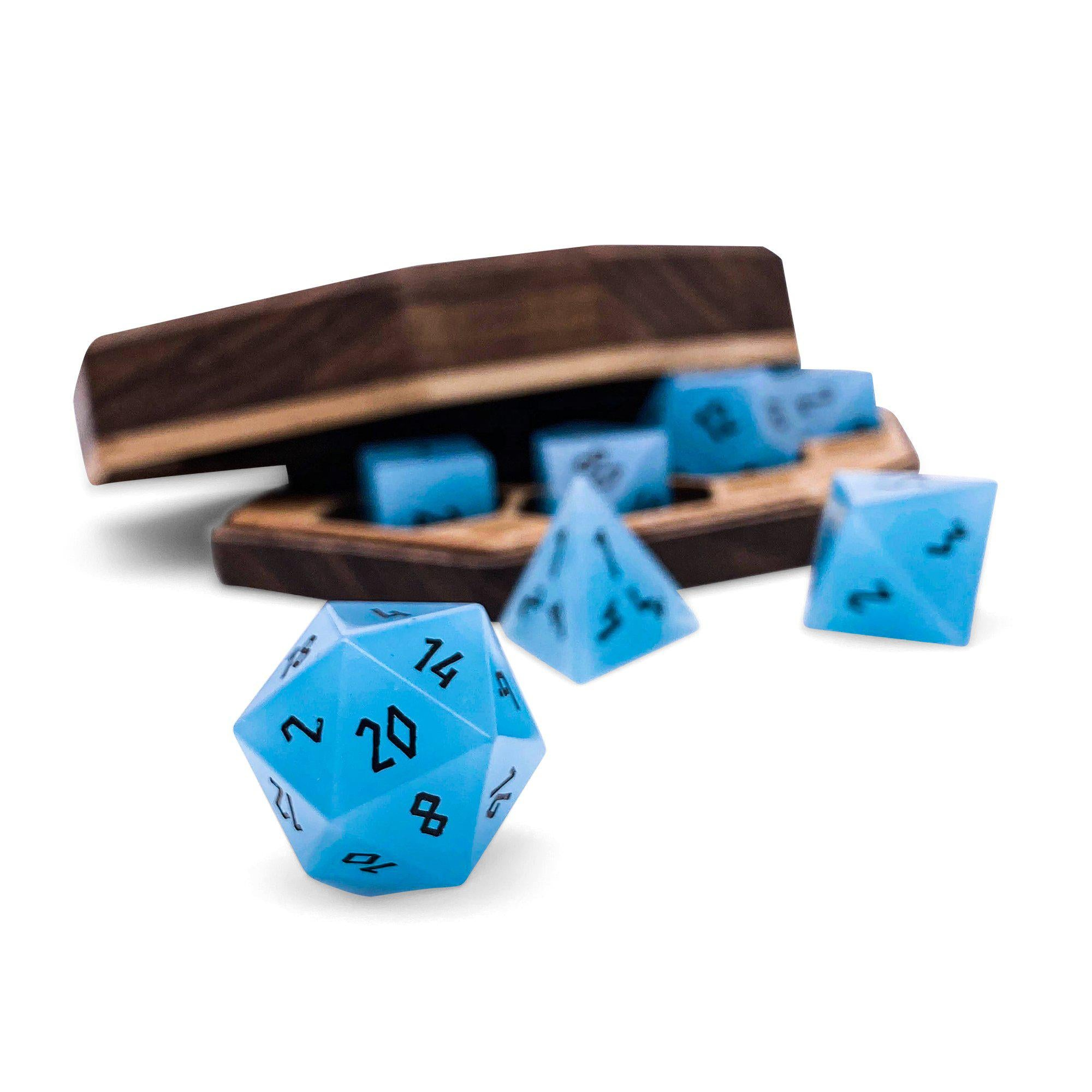 Cerulean Blue - K9 Glass - 7 Piece Glass Dice Set