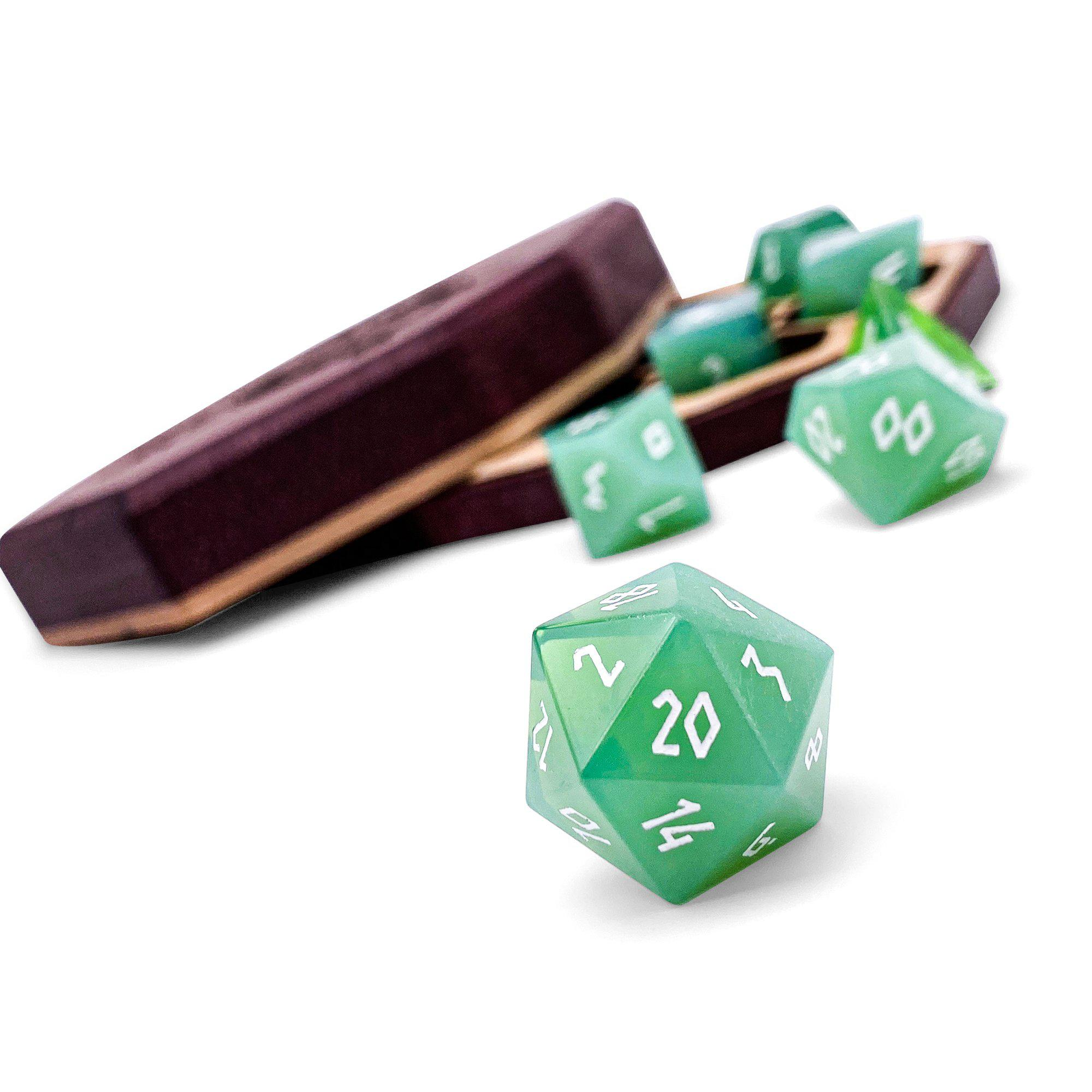 Jade Green - K9 Glass - 7 Piece Glass Dice Set