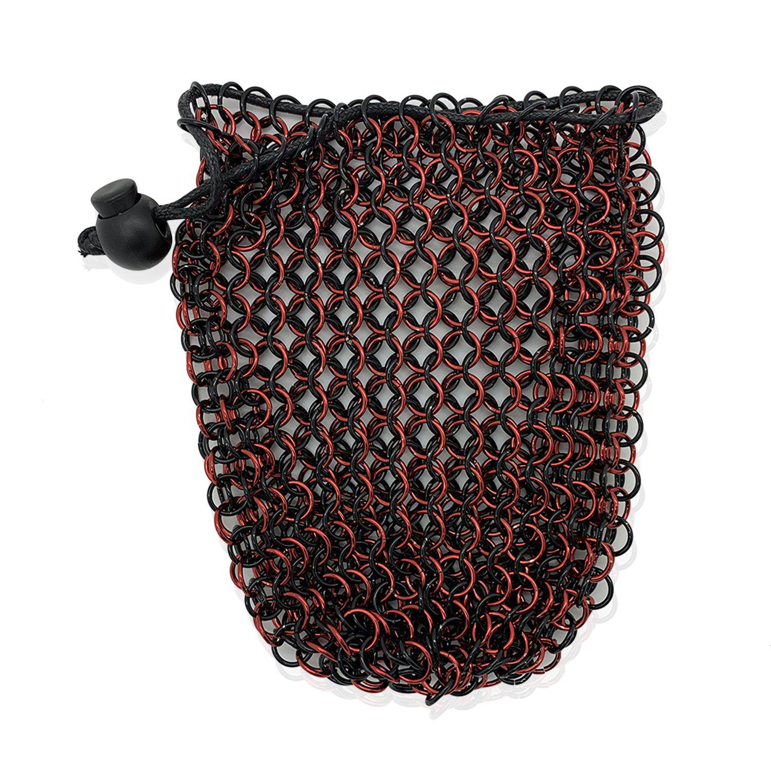 Stainless Steel Chainmail Dice Bag - Red & Black by Norse Foundry