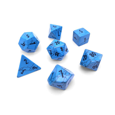 Blue Turquoise 7 Piece RPG Dice Set Gemstone