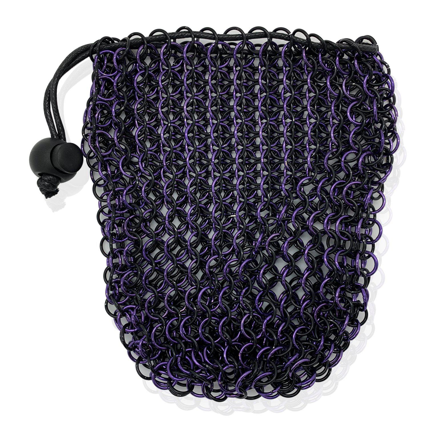 Stainless Steel Chainmail Dice Bag - Purple & Black by Norse Foundry