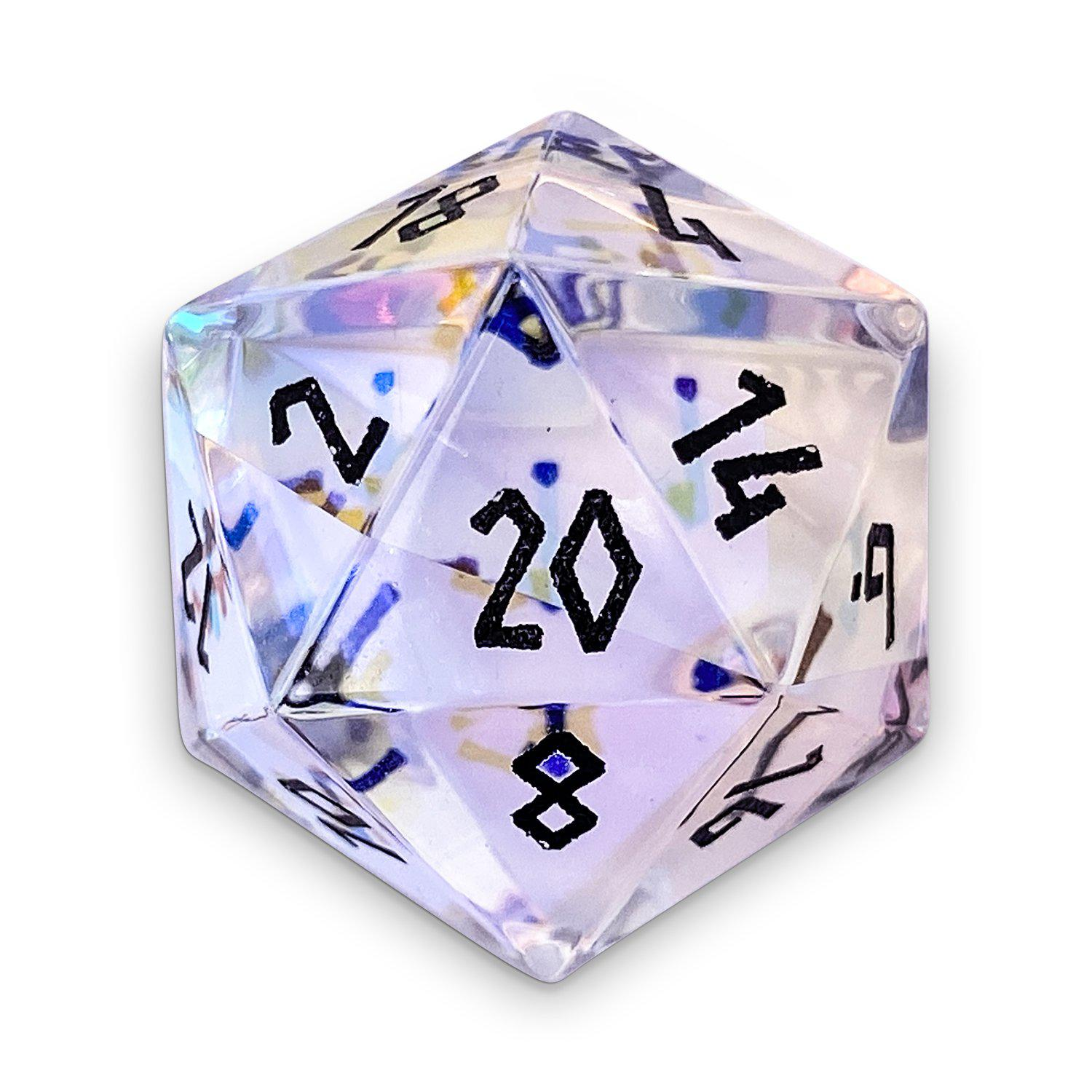 Rainbow K9 Glass D20 - Glass Dice