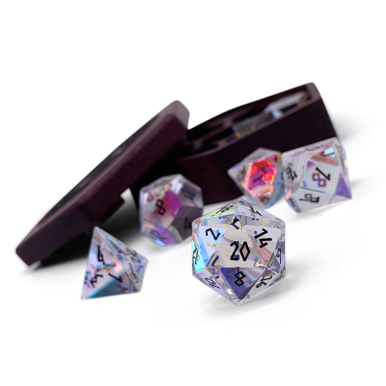K9 Rainbow Glass 7 Piece Glass Dice Set