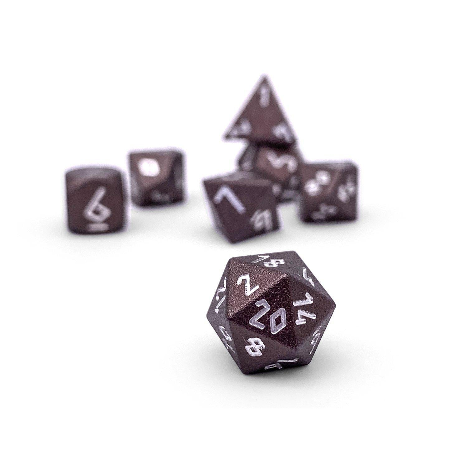 Leather Brown Pebble ™ Dice - 10mm 6063 Aircraft Grade Aluminum Mini