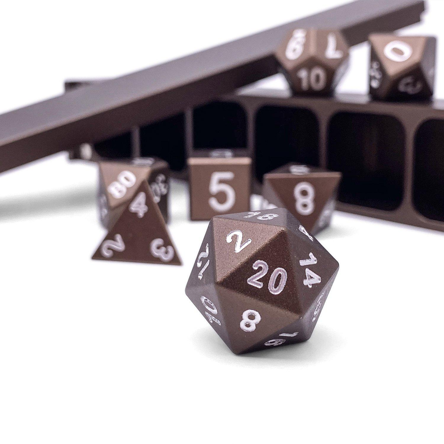 Leather Brown - Precision CNC Aluminum Dice Set with Dice Vault