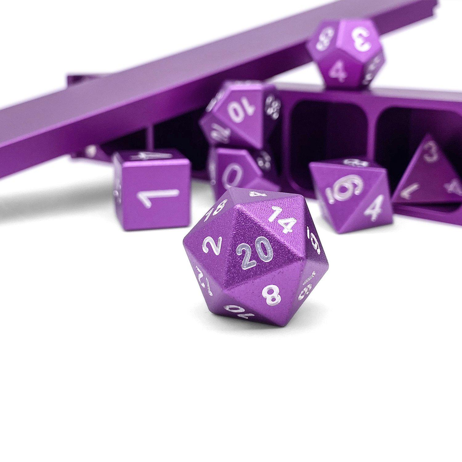 Precision CNC Aluminum Dice Set with Dice Vault – Lich Purple