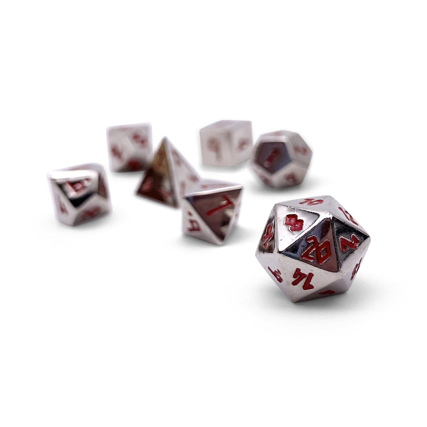 Lycanthrope Silver Pebble ™ Dice - 10mm Alloy Mini Polyhedral Dice Set
