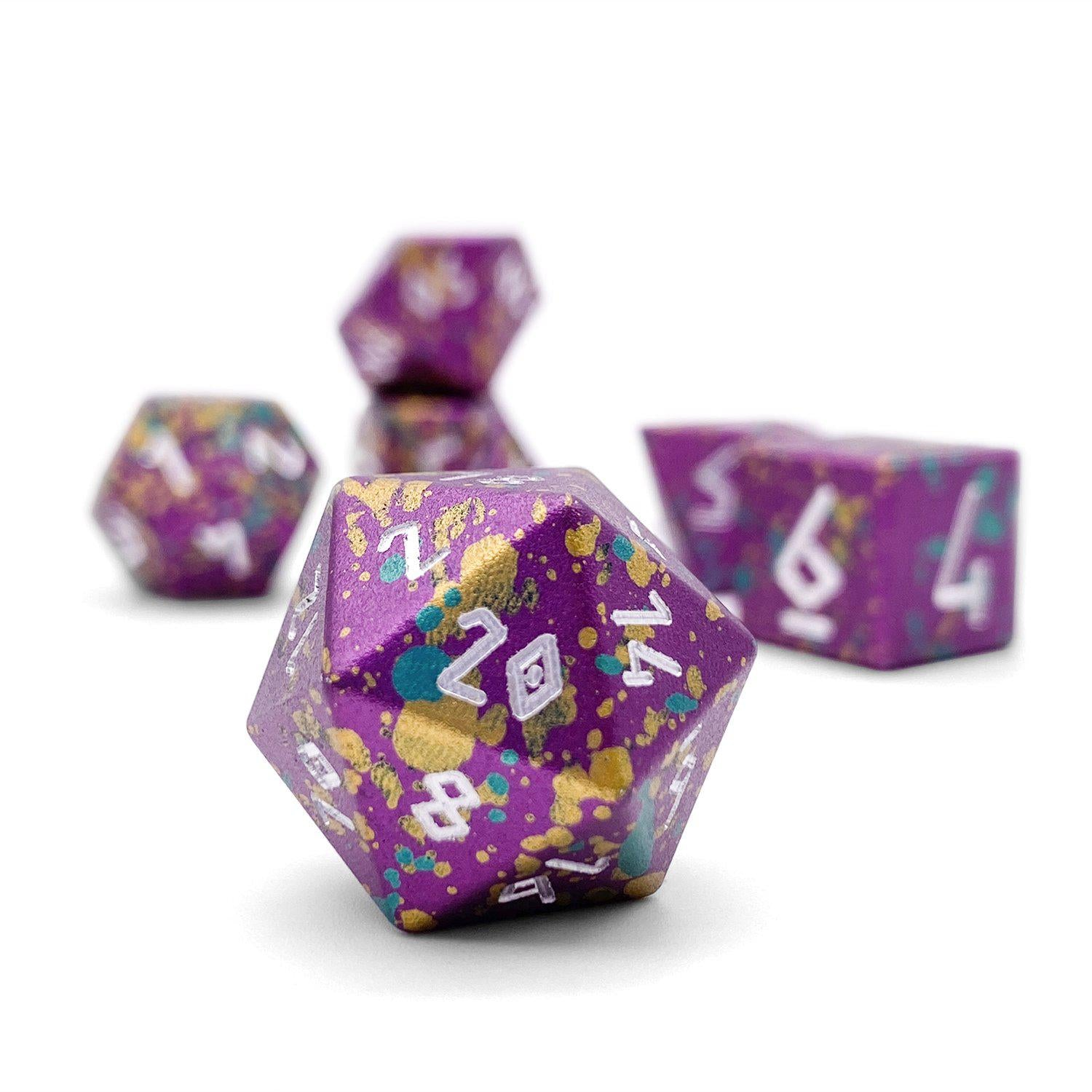 Mardi Gras - Wondrous Dice Set of 7 RPG Dice by Norse Foundry Precision Polyhedral Dice Set