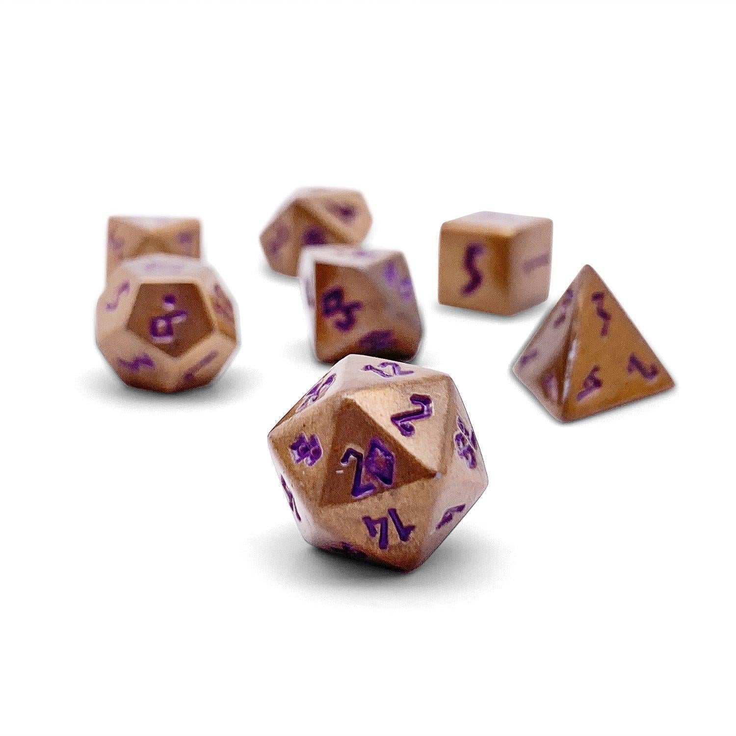 Mystic Copper Pebble ™ Dice - 10mm Alloy Mini Polyhedral Dice Set