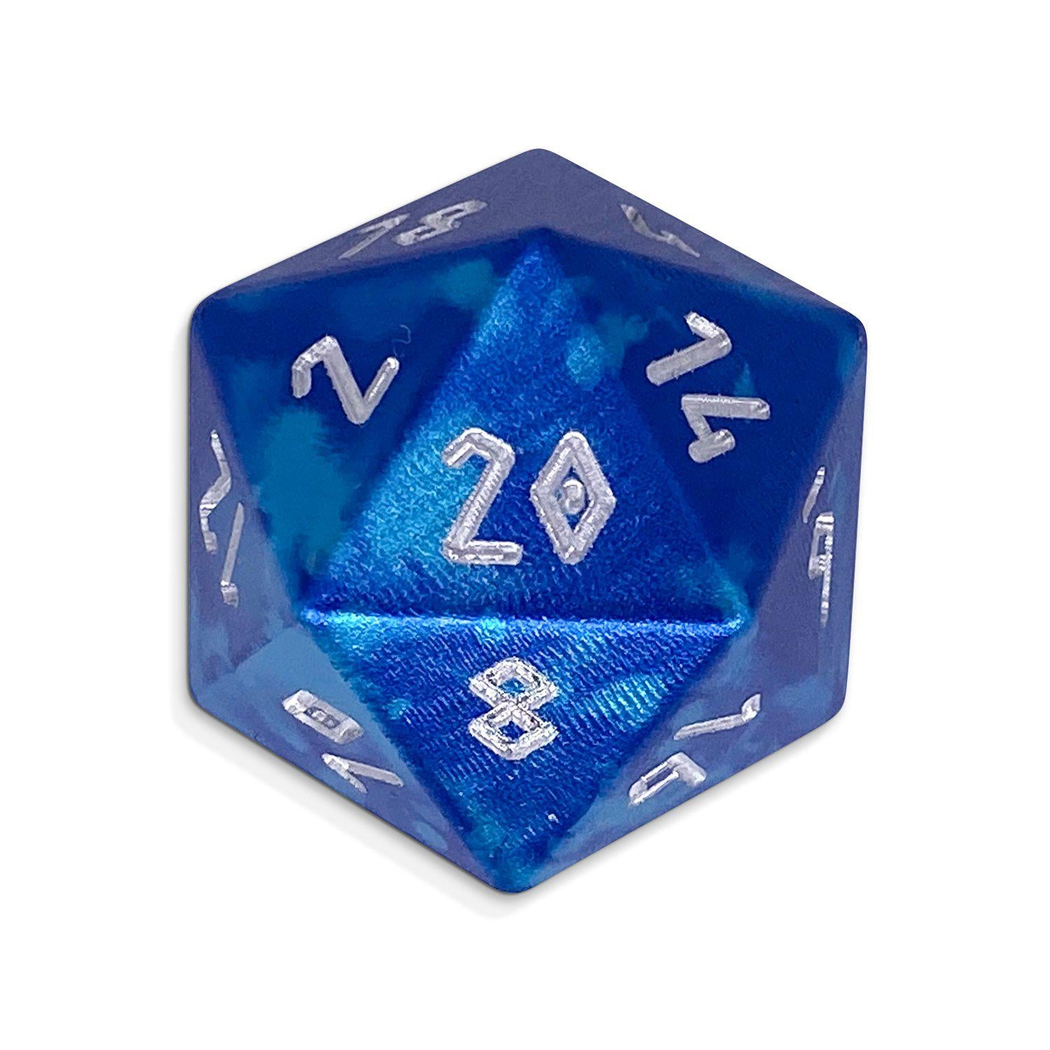 Single Wondrous Dice® D20 in Mystic Wave by Norse Foundry® 6063 Aircraft Grade Aluminum