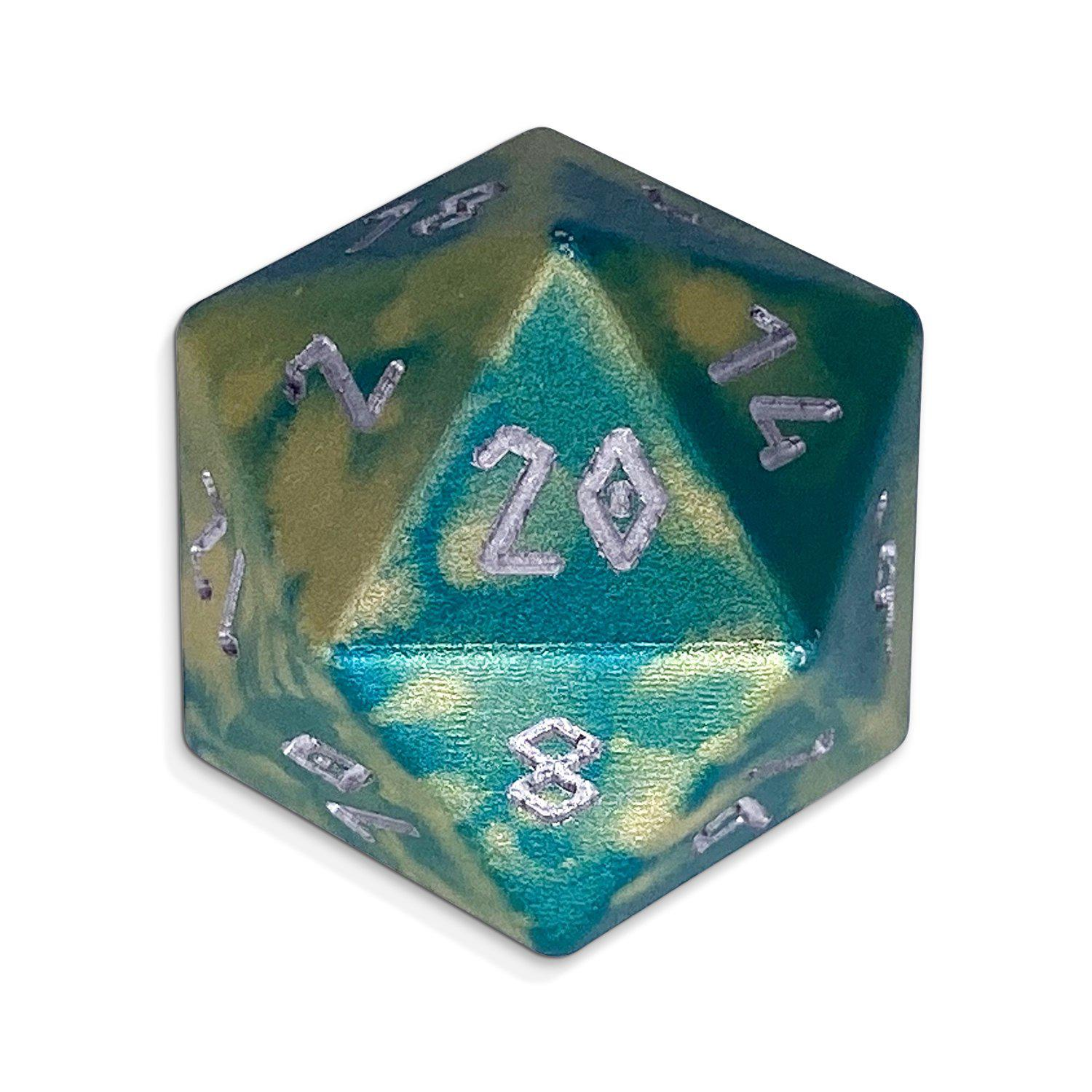 Single Wondrous Dice® D20 in Nautical Demise by Norse Foundry® 6063 Aircraft Grade Aluminum