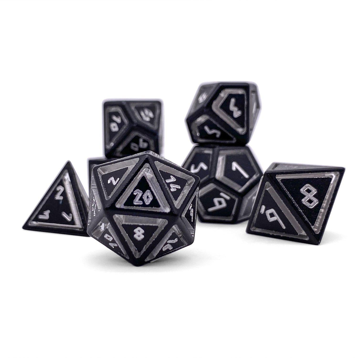 Nimbus Precision CNC Aluminum Dice Set Norse Font - Night Black