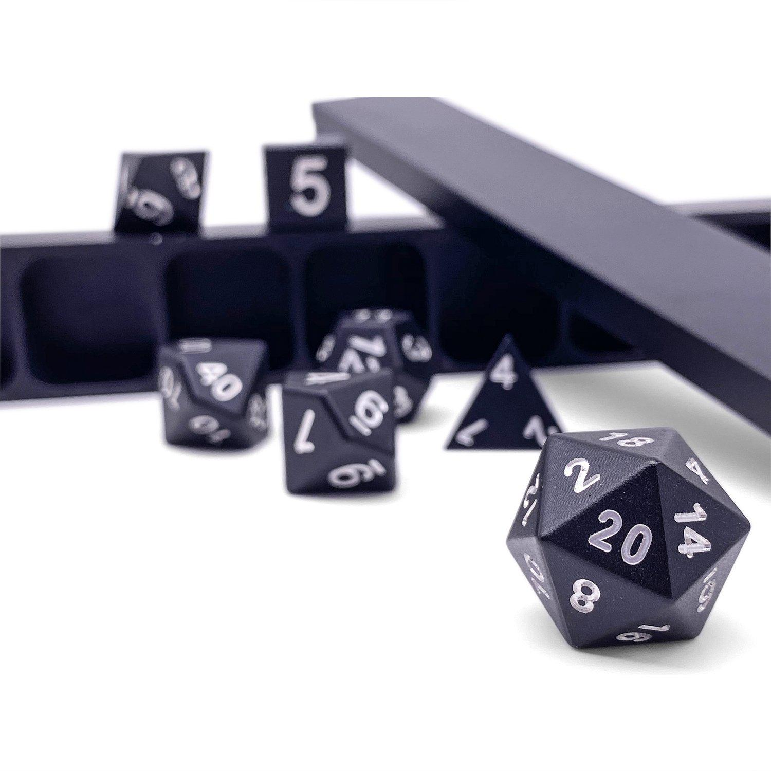 Night Black - Precision CNC Aluminum Dice Set with Dice Vault