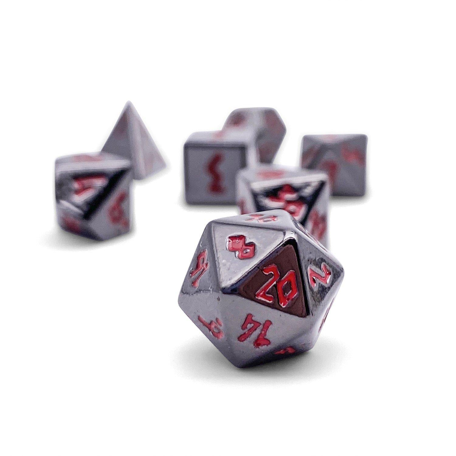 Nightmare Black Pebble ™ Dice - 10mm Alloy Mini Polyhedral Dice Set