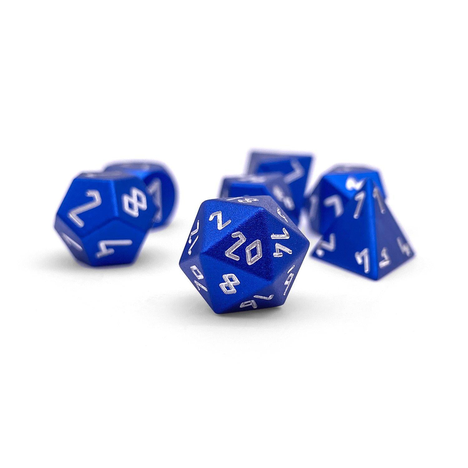 Noble Blue Pebble ™ Dice - 10mm 6063 Aircraft Grade Aluminum Mini