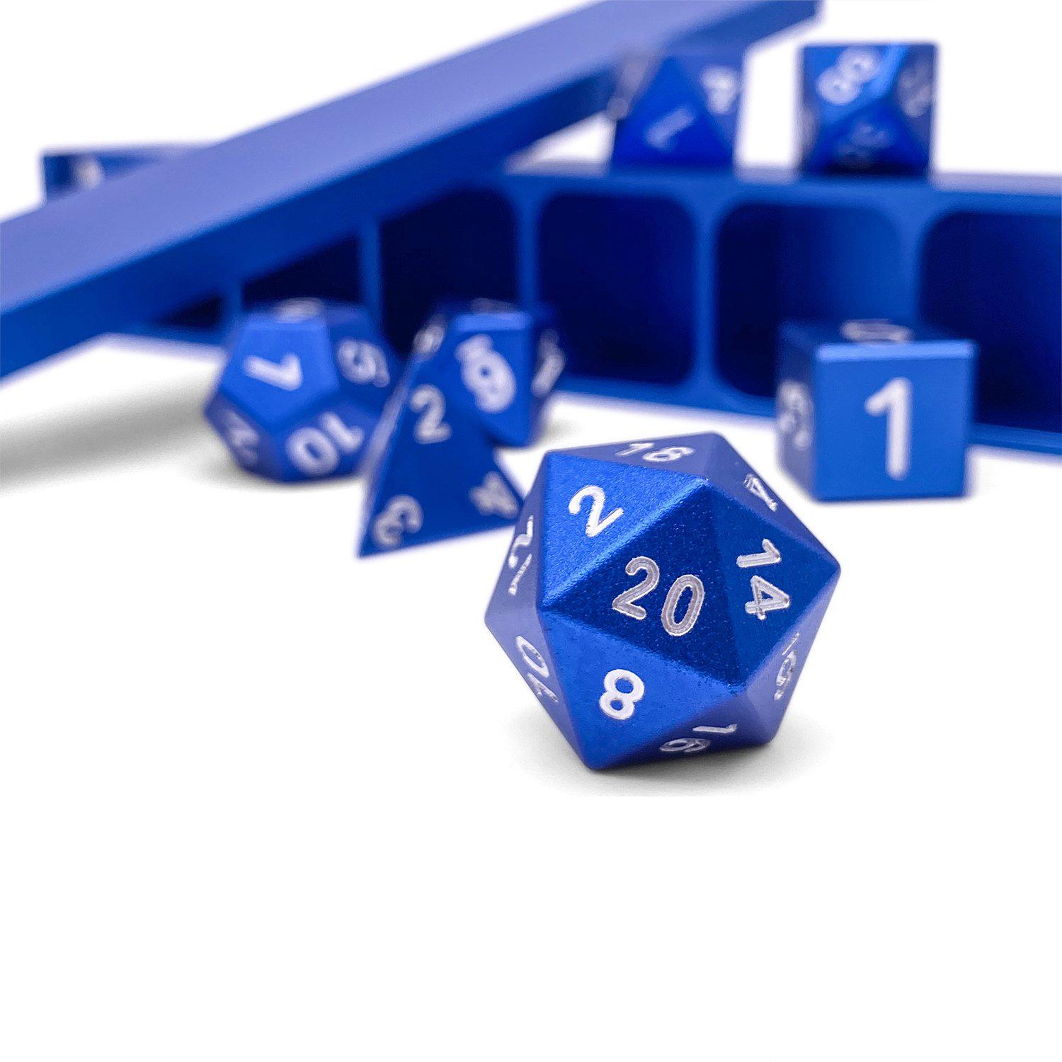 Noble Blue - Precision CNC Aluminum Dice Set with Dice Vault