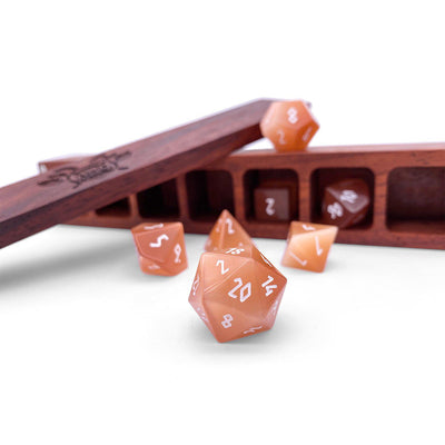 Orange Cats Eye 7 Piece RPG Dice Set Gemstone