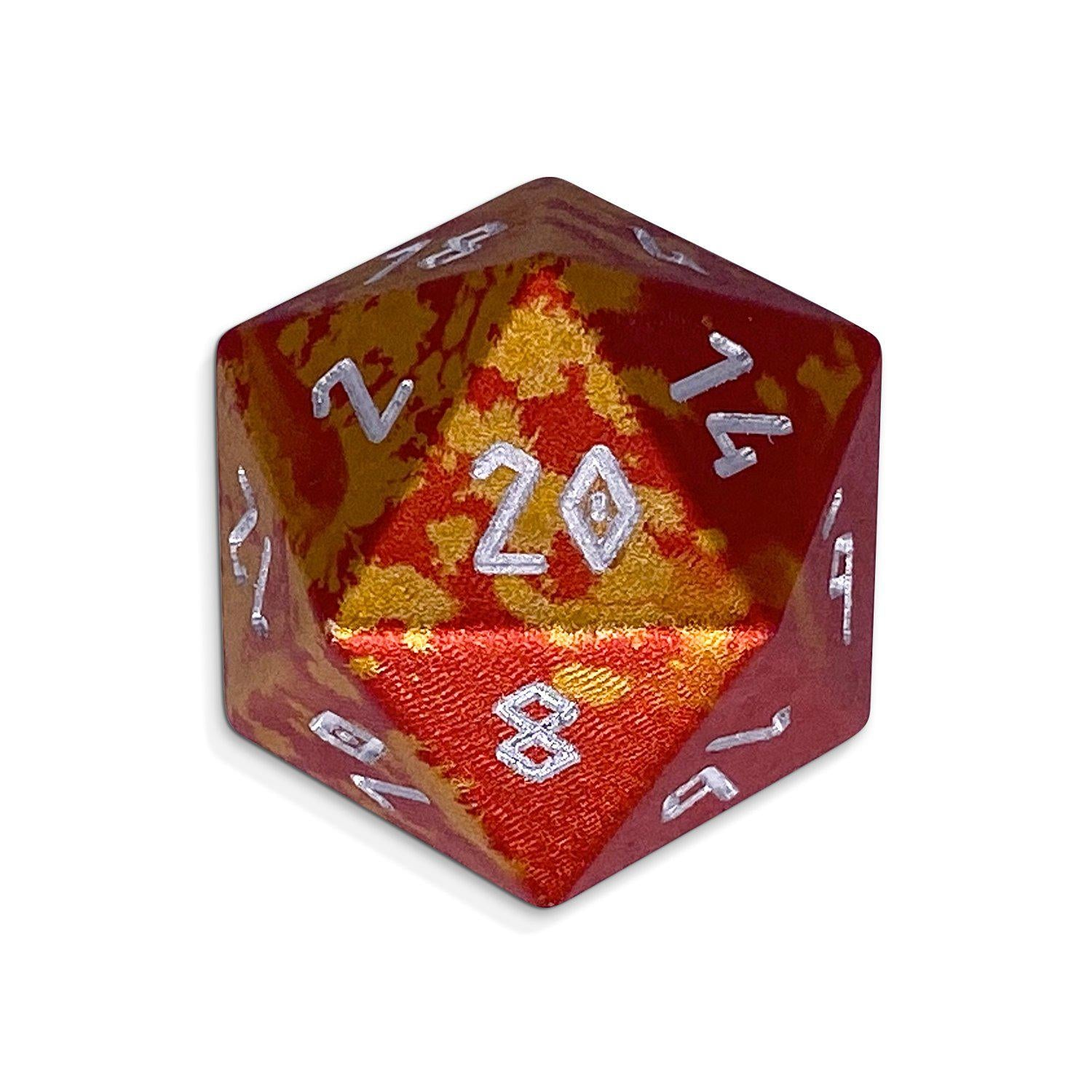 Single Wondrous Dice® D20 in Phoenix Tears by Norse Foundry® 6063 Aircraft Grade Aluminum