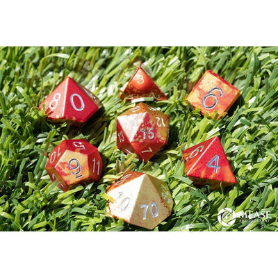 Phoenix Tears - Wondrous Dice - Norse Font - Set of 7 RPG Dice by Norse Foundry Precision Polyhedral Dice Set