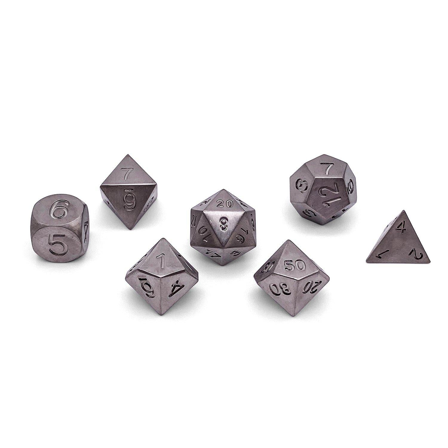 Set of 7 Titanium RPG Dice by Norse Foundry Polyhedral Dice Set