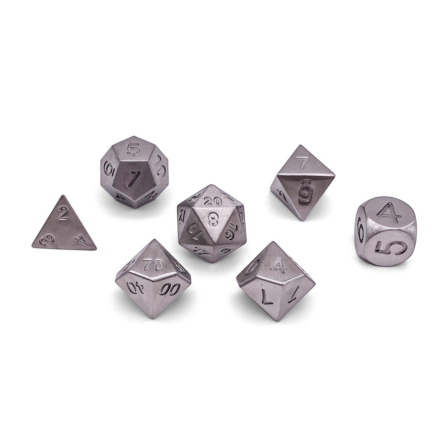 Set of 7 Stainless Steel RPG Dice by Norse Foundry Polyhedral Dice Set