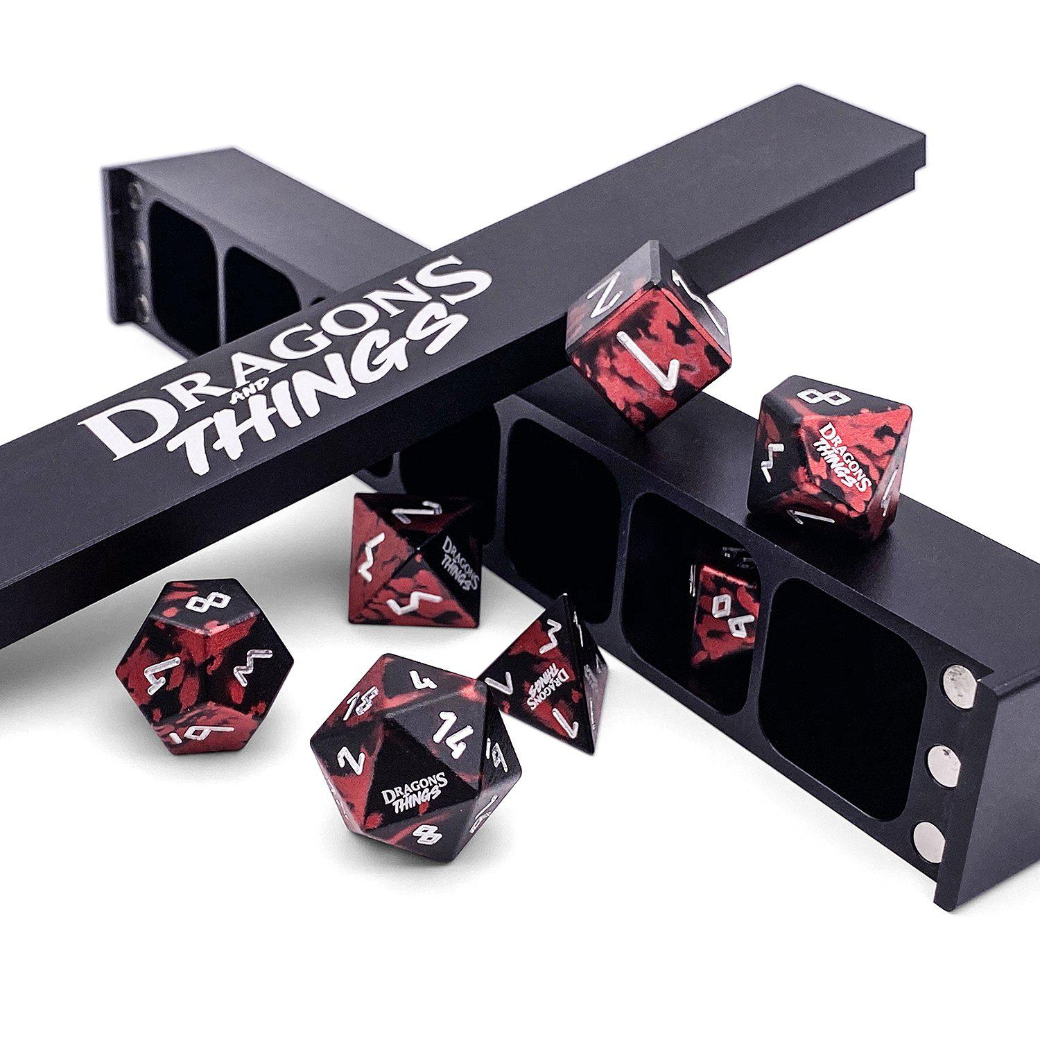 Dragons and Things Demons Blood - Precision CNC Aluminum Dice Set with Dice Vault