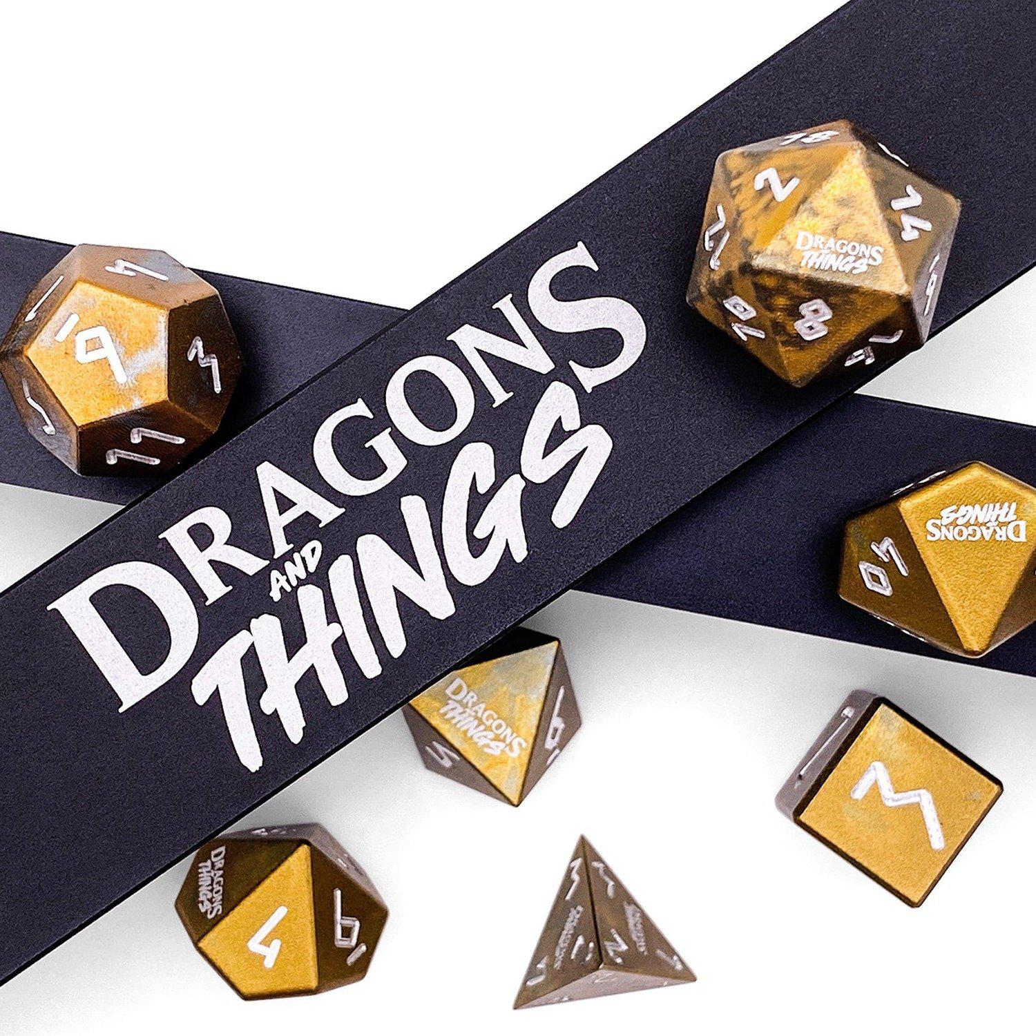 Dragons and Things Desert Sands - Precision CNC Aluminum Dice Set with Dice Vault