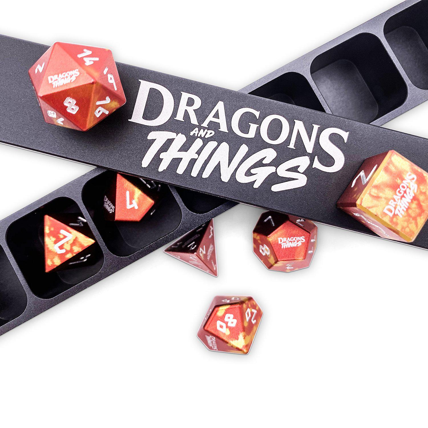 Dragons and Things Phoenix Tears - Precision CNC Aluminum Dice Set with Dice Vault