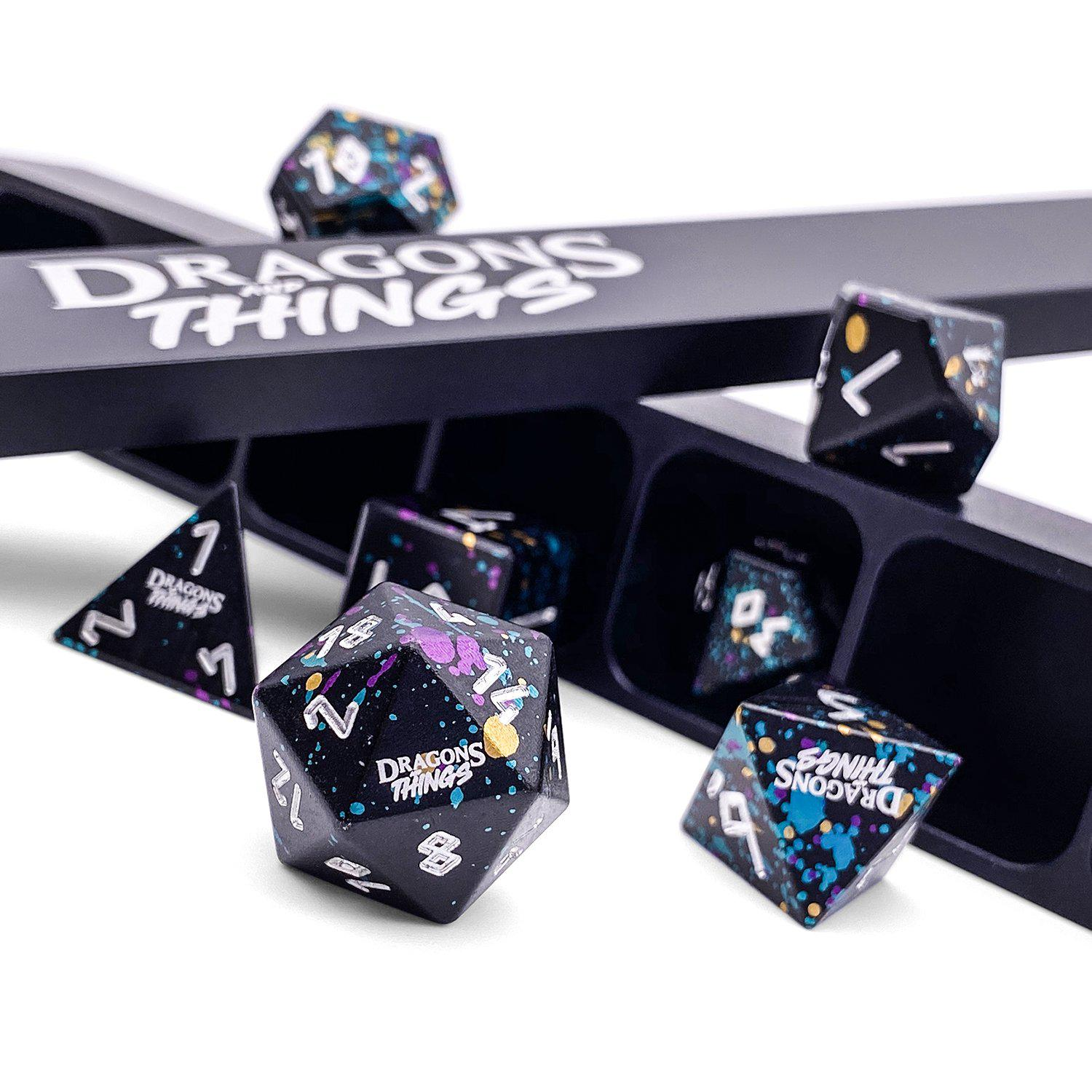 Dragons and Things Court Jester - Precision CNC Aluminum Dice Set with Dice Vault