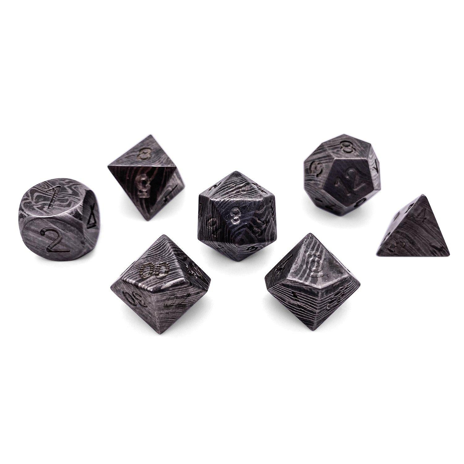 Set of 7 Damascus Steel RPG Dice by Norse Foundry Polyhedral Dice Set