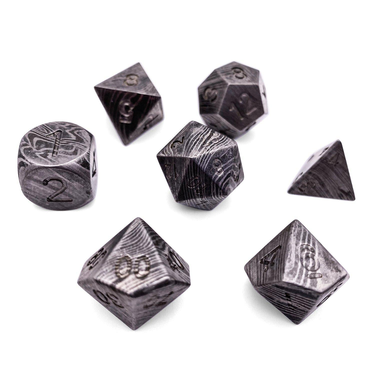 Set Of 7 Damascus Steel Rpg Dice By Norse Foundry Polyhedral Dice Set Weighing up to 50% more than average cheap plastic dice, they guarantee truly random drops for truly epic adventures! norse foundry
