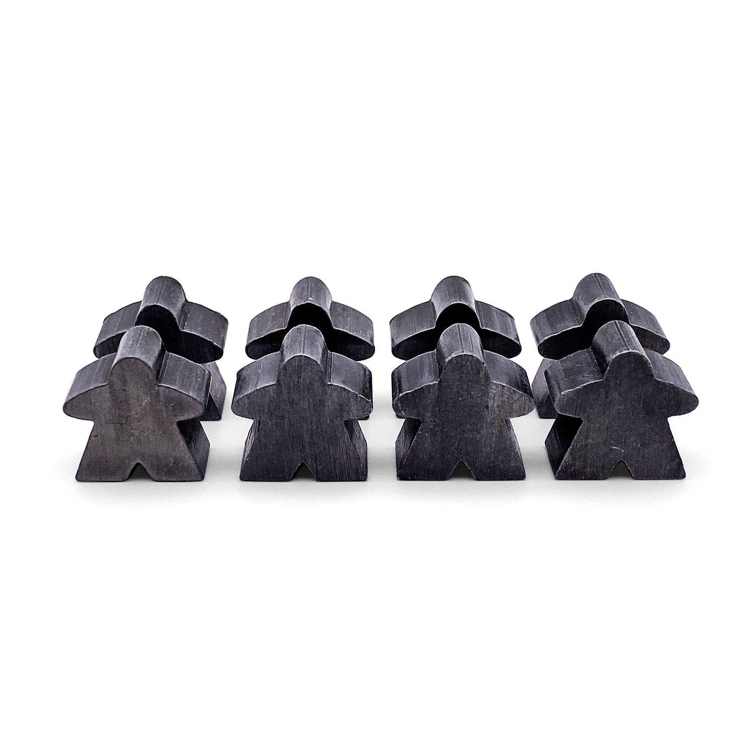8 Pack of Antique Silver Metal Meeples by Norse Foundry