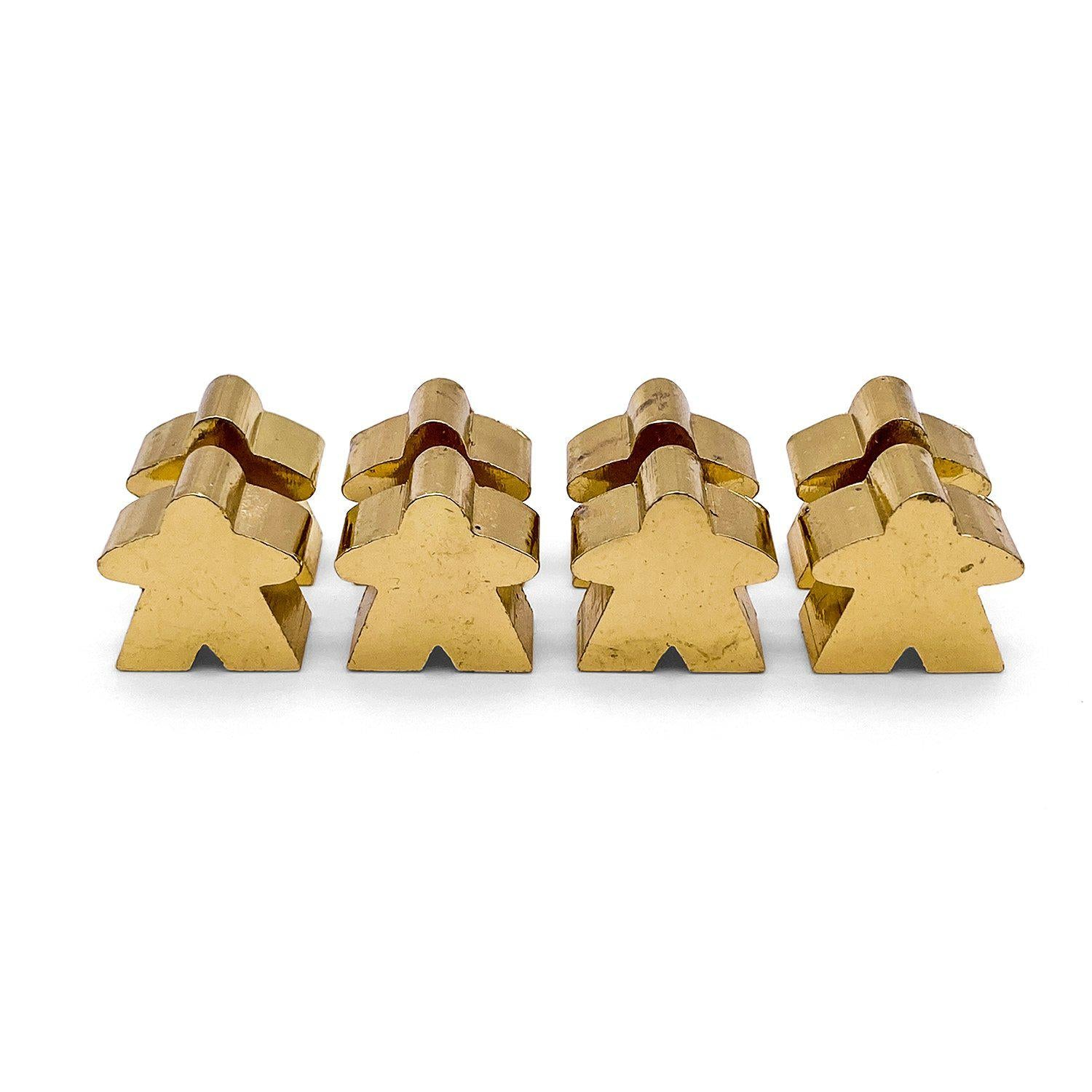 8 Pack of Shiney Gold Metal Meeples by Norse Foundry
