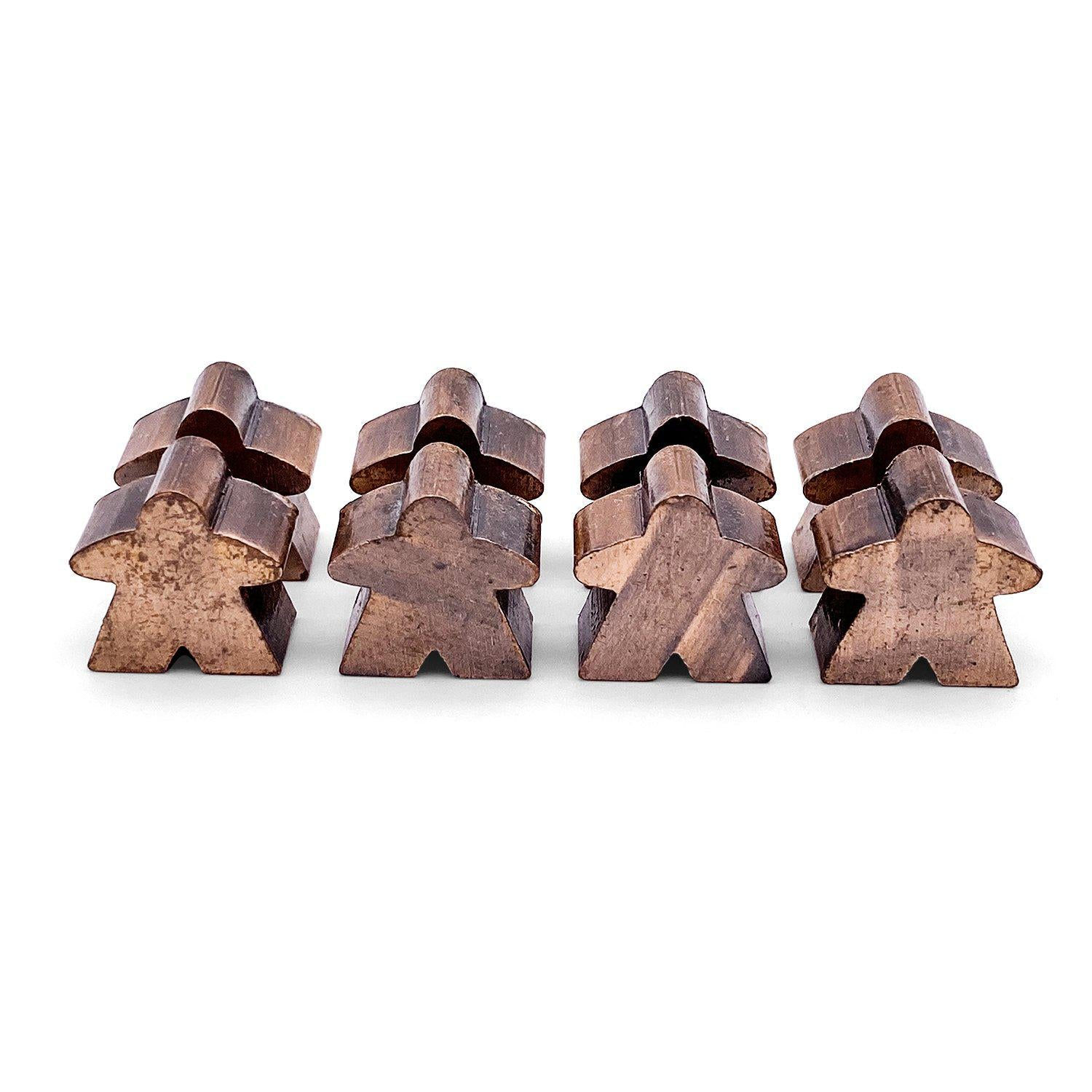 8 Pack of Antique Copper Metal Meeples by Norse Foundry