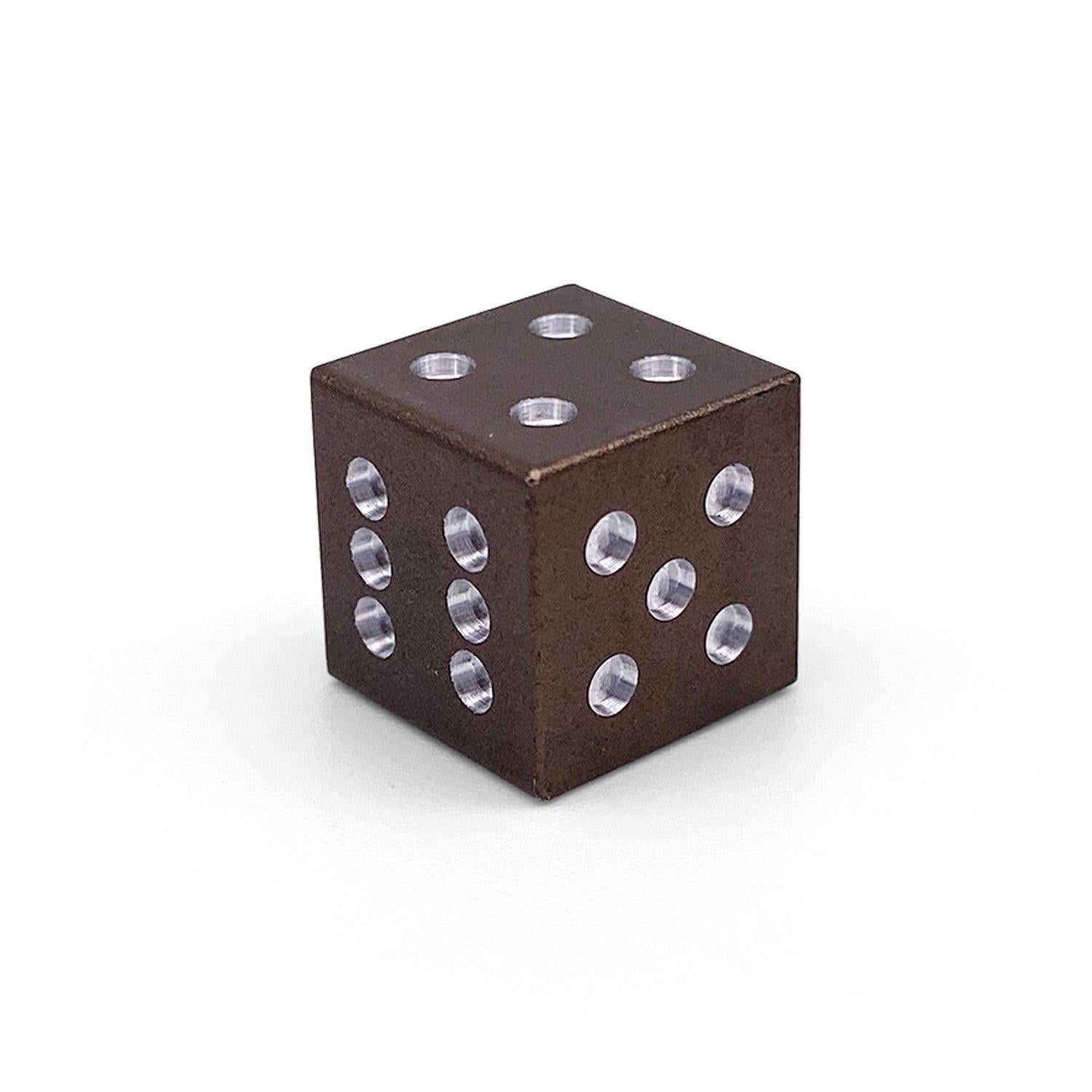 Single Aluminum D6 Mini - Straight Edges - Leather Brown