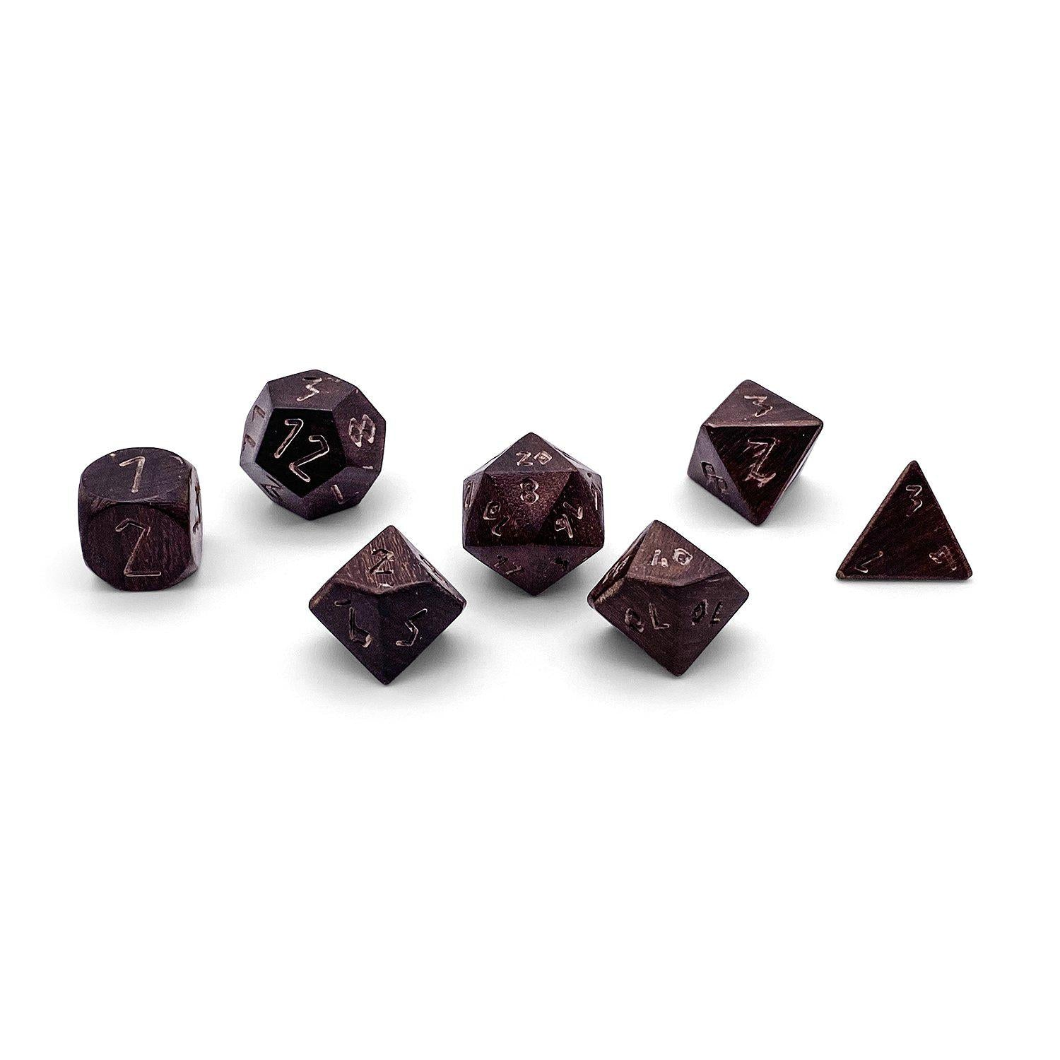 7 piece Wooden Dice Set - Pau Rosa