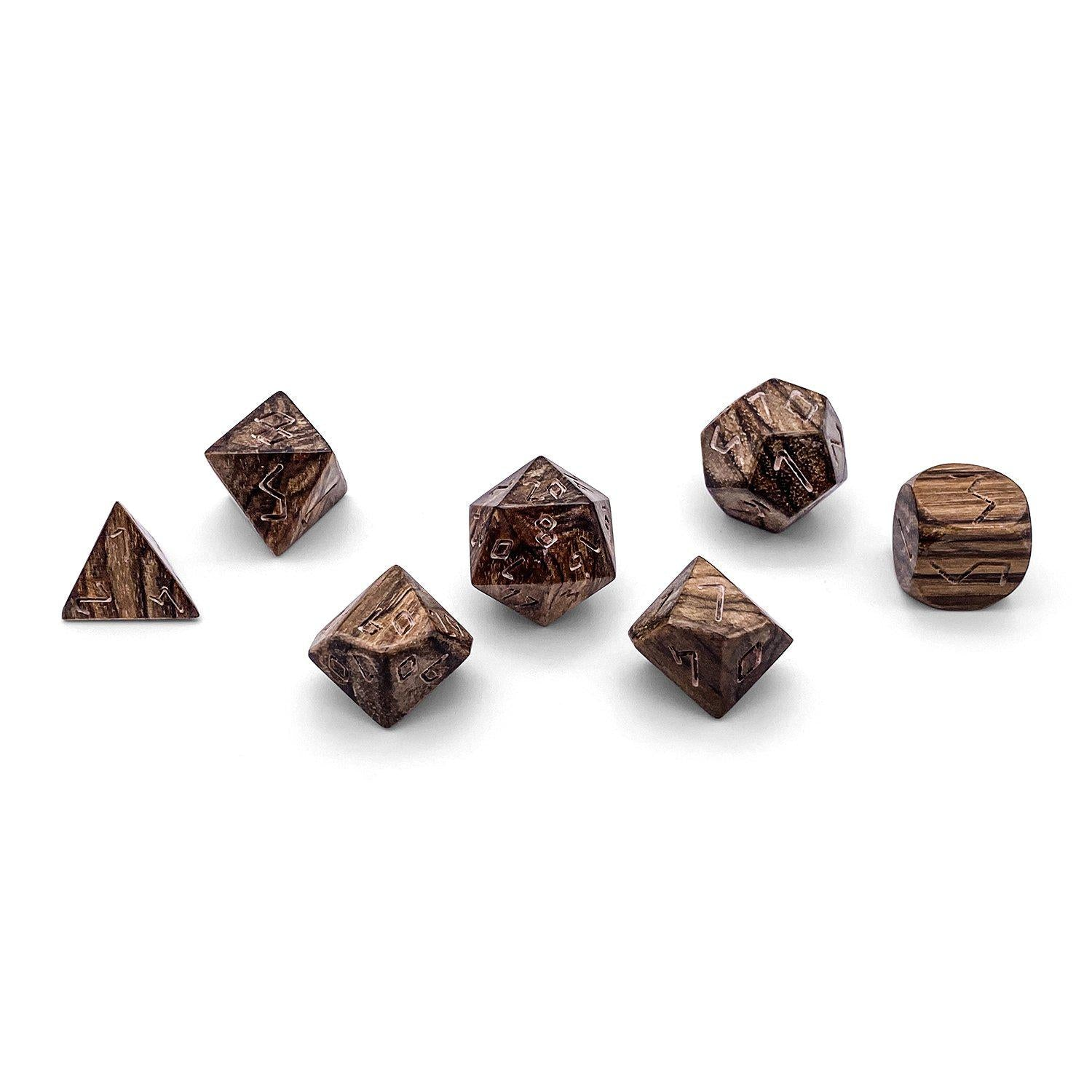 7 piece Wooden Dice Set - Alligator Wood