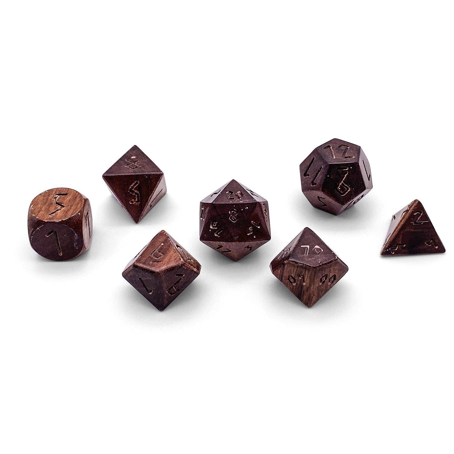 7 piece Wooden Dice Set - Bubinga