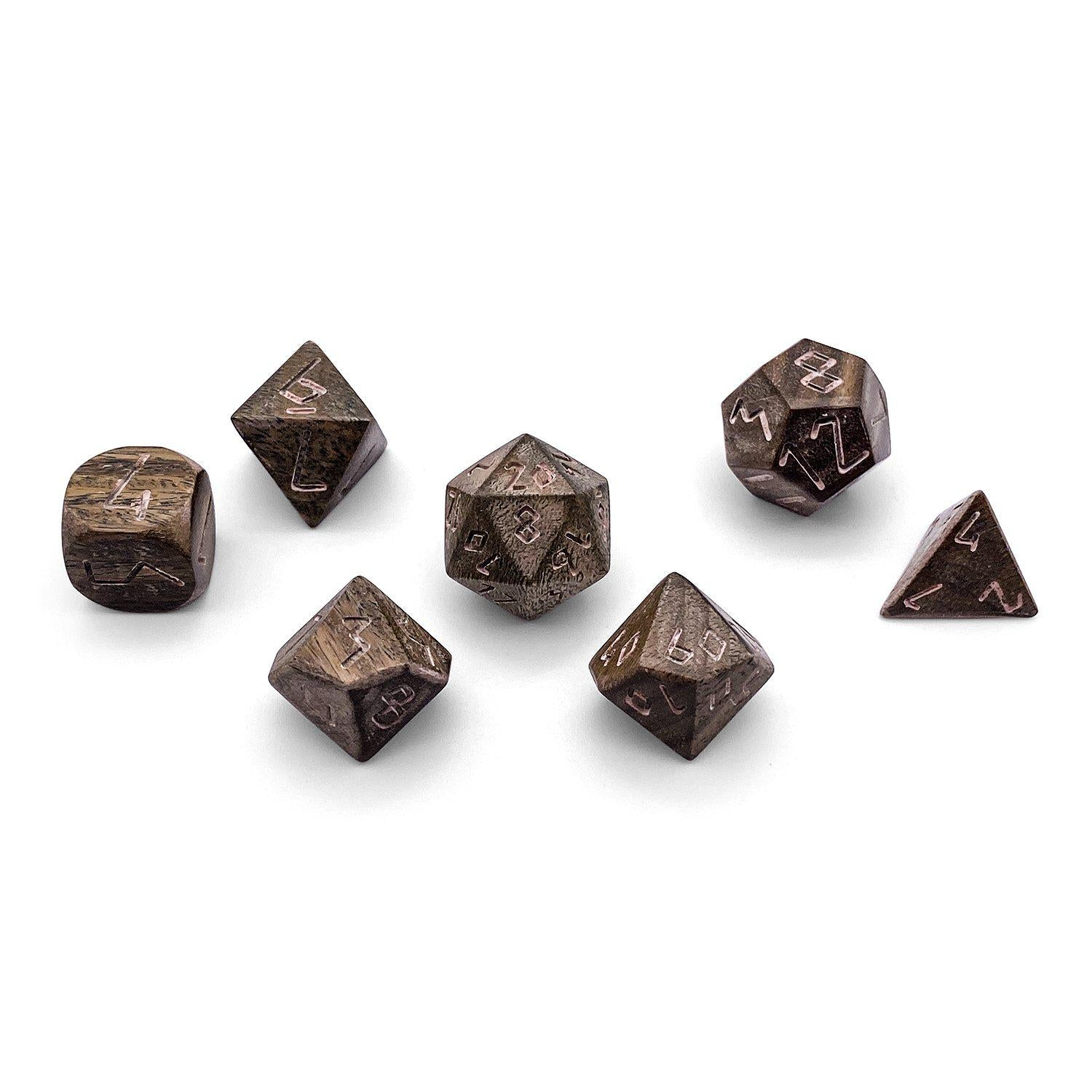 7 piece Wooden Dice Set - Green Sandalwood
