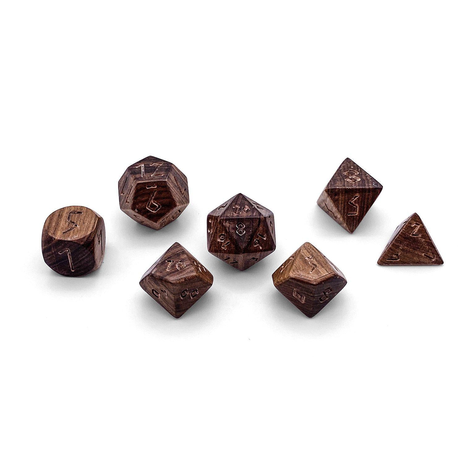 7 piece Wooden Dice Set - Asia Sweet Leaf