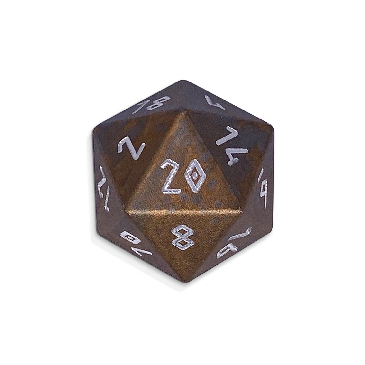 Desert Sand - Single D20 Wondrous 20mm 6063 Aircraft Grade Aluminum Metal Die