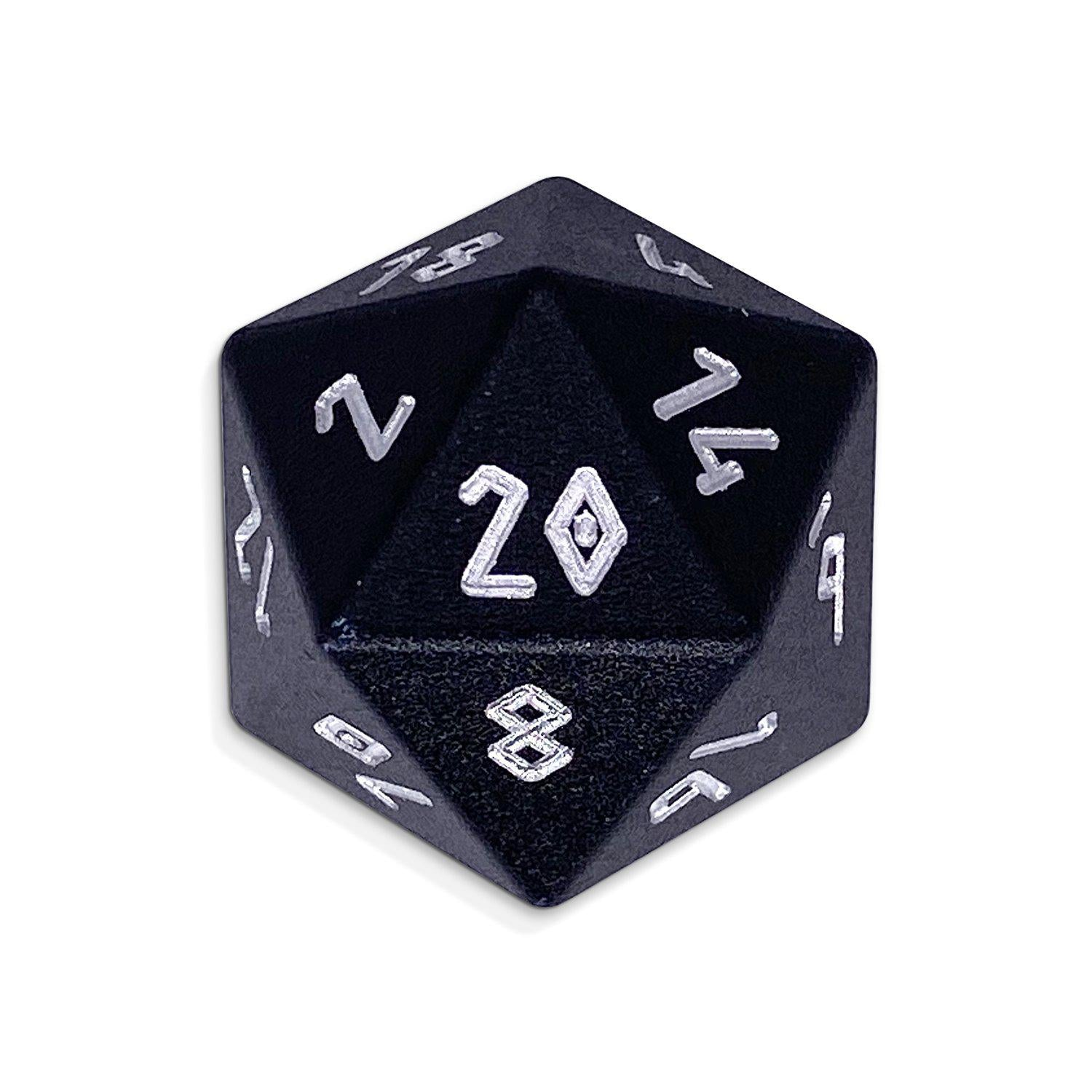Night Black - Single D20 - Aluminum Dice