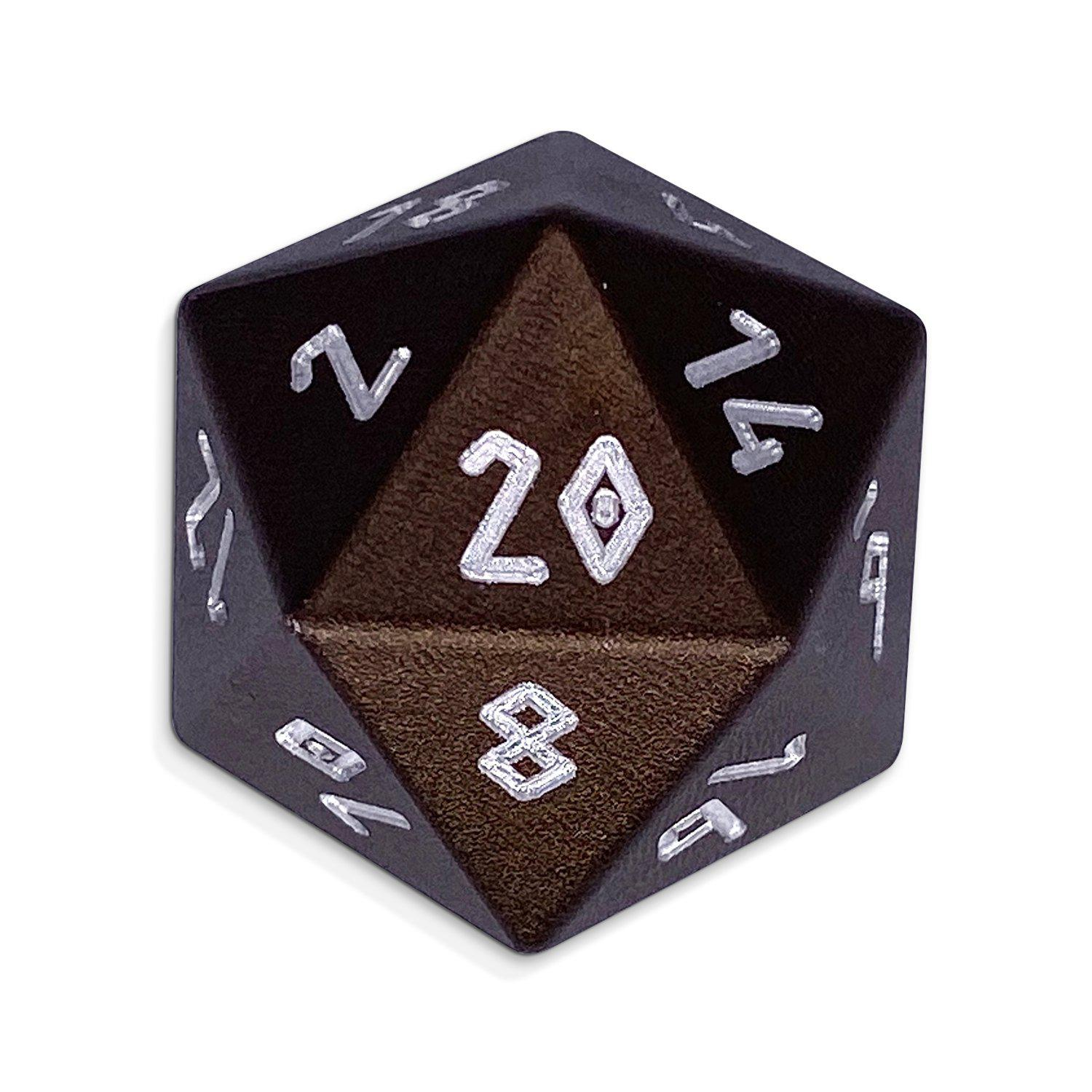 Leather Brown - Single D20 - Aluminum Dice