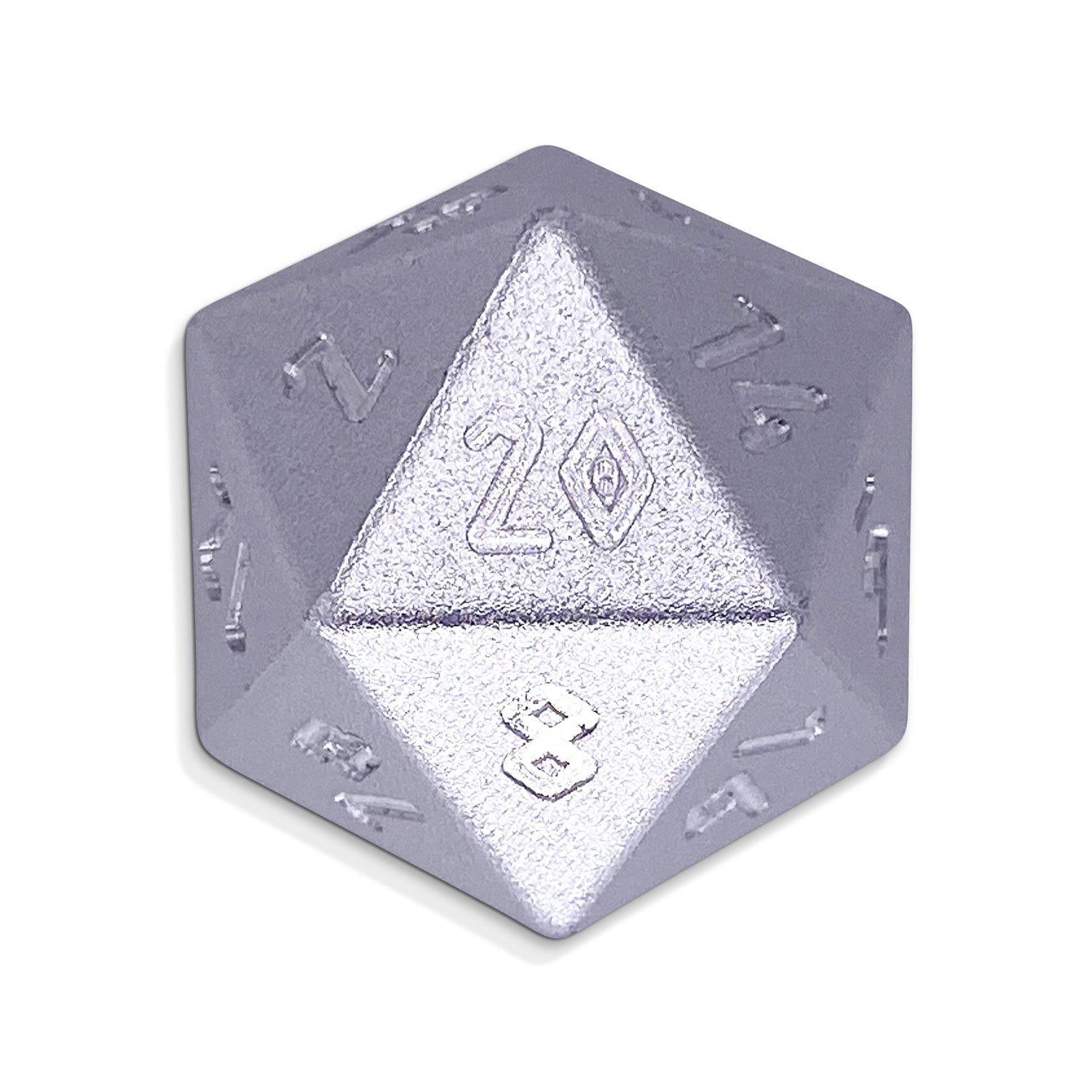 Mithiral Silver - D20 Single - Aluminum Dice