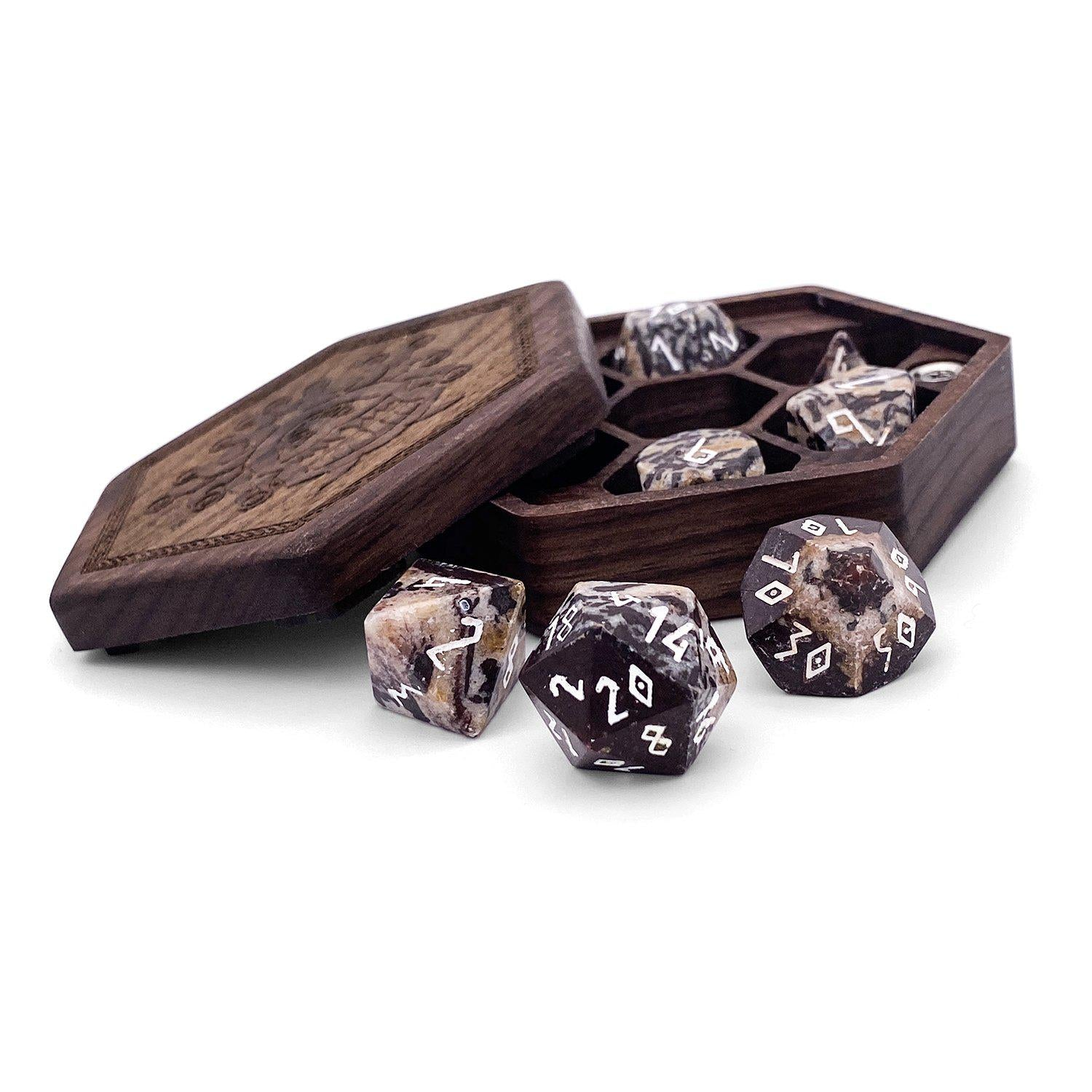 Pork Stone 7 Piece RPG Dice Set Gemstone