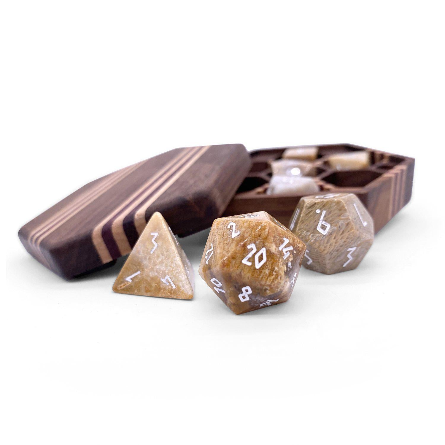 Coral Fossil - 7 Piece RPG Dice Set Gemstone