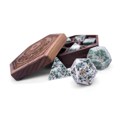 Tree Agate 7 Piece RPG Dice Set Gemstone